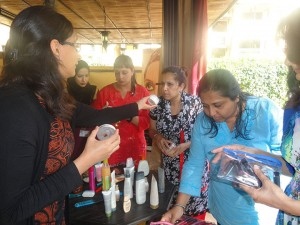 The guests testing the products
